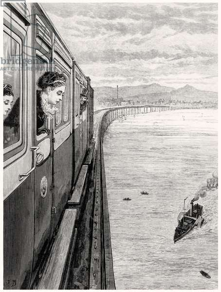 The Queen's Return from the Highlands; Her Majesty crossing Tay Bridge, Dundee, 1879 (engraving)