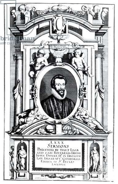 Frontispiece to 'Eighty Sermons Preached by that Learned and Reverend Divine, John Donne', pub. 1640 (engraving) (b&w photo)