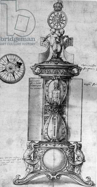 Design for a Clocksalt, c.1543 (pen and ink and wash)