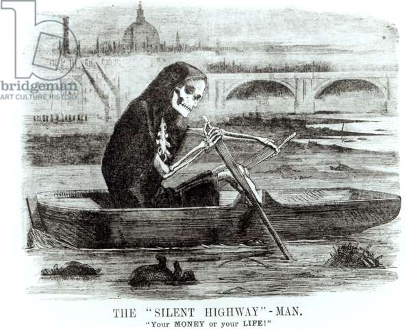 The Silent Highway Man, from 'Punch', 1858 (litho) (b/w photo)