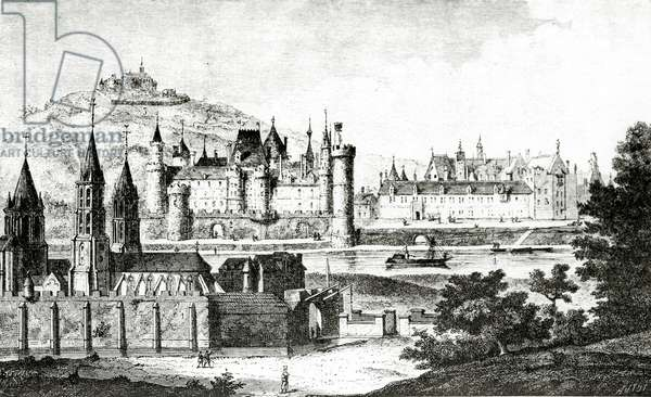 View of Saint-Germain-des-Pres and of the Pre-aux-Clercs during the reign of Charles V, from 'History of St.Germain des Pres', by Dom Bouillart, published in 1724, illustration from 'Science and Literature in the Middle Ages and Renaissance', written and engraved by Paul Lacroix, 1878 (engraving) (b/w photo)