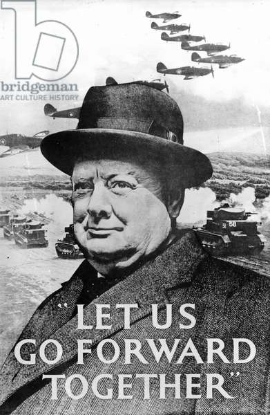 'Let Us Go Forward Together', World War Two propaganda poster, 1940 (print) (b/w photo)