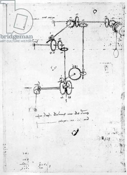 Machinery designs, fol. 399v-b (pen and ink on paper)