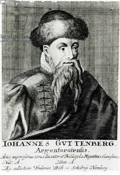 Portrait of Johannes Gutenberg (engraving) (b/w photo)
