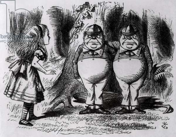 Tweedledum and Tweedledee, illustration from 'Through the Looking Glass', by Lewis Carroll, 1872 (engraving) (b&w photo)