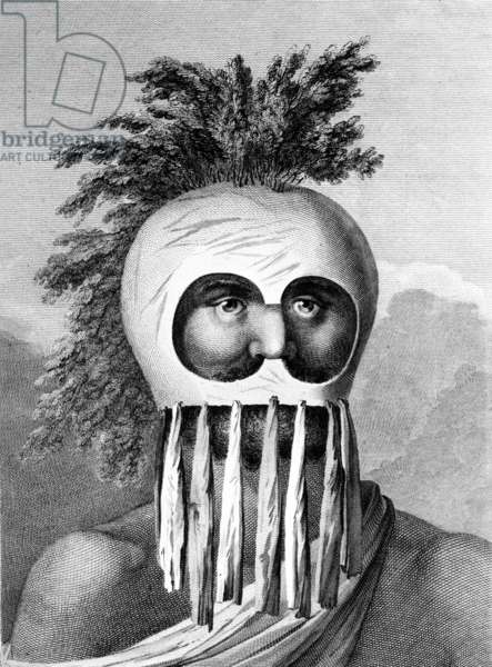 A Man of the Sandwich Islands in a Mask, illustration from 'A Voyage to the Pacific', engraved by Thomas Cook, 1784 (engraving)