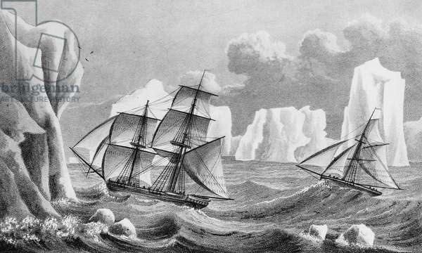 The brig 'Jane' and cutter 'Beaufoy', 1825 (engraving)