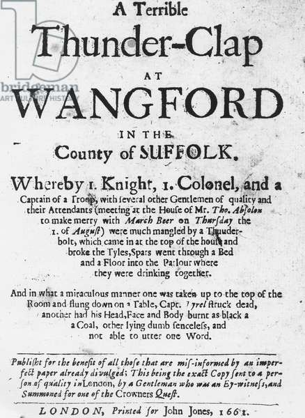 Titlepage of the pamphlet 'A Terrible Thunder-Clap at Wangford in the County of Suffolk', published in 1661 (printed paper)