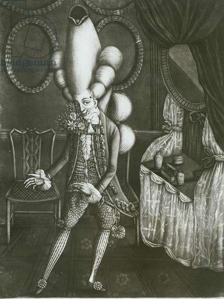 Pantheon Macaroni, 1773 (oil on canvas) (b/w photo)