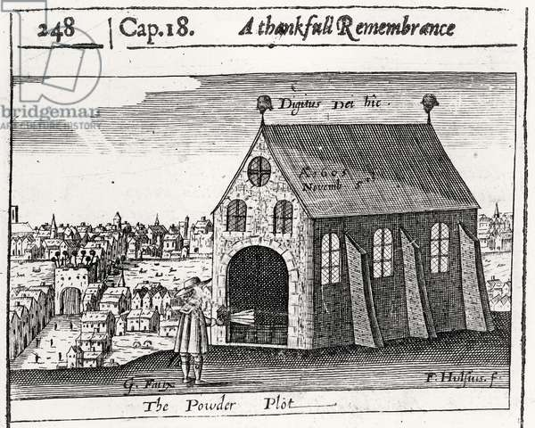 A Thankful Remembrance of the Powder Plot, 5th November 1605 (engraving) (b/w photo)