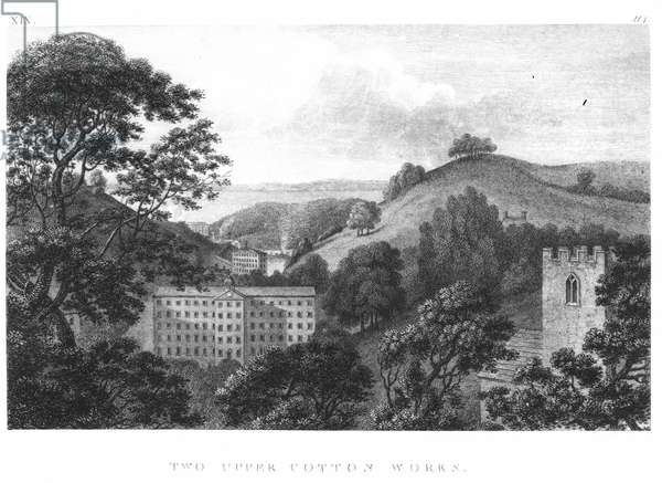 Two Upper Cotton Works, New Lanark Textile mills, 1796 (engraving) (b&w photo)
