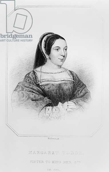 Portrait of Margaret Tudor (1489-1541) Queen of Scotland, from 'Lodge's British Portraits', 1823 (engraving) (b/w photo)