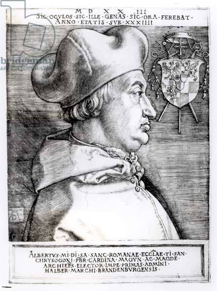 Portrait of Albert, Cardinal Elector of Mainz, 1523 (engraving) (b/w photo)