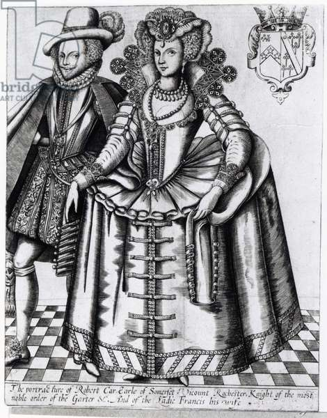Robert Carr, Earl of Somerset and his wife Frances Howard, engraved by Renold Elstrack, c.1615-16 (engraving)