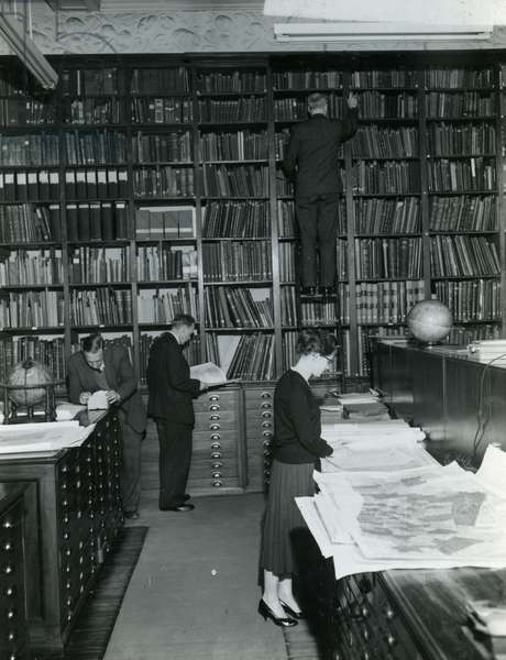 Map Room at the Royal Geographical Society, c.1960s (b/w photo)