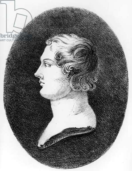 Portrait of George Gordon, 6th Baron Byron of Rochdale (1788-1824) from a bust by Lorenzo Bartolini (1777-1850) (litho) (b&w photo)