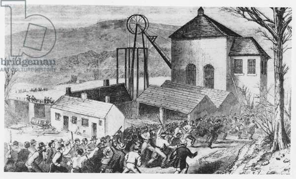 Striking miners attack cottages occupied by non-union workers, 1870 (engraving)
