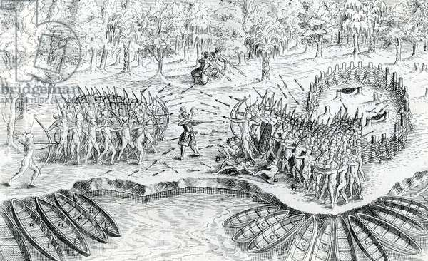 Fighting of Hurons, from 'Voyage de Champlain in 1624' by Samuel de Champlain, 1567-1635 (engraving)