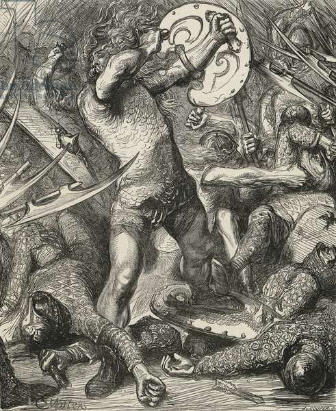Hereward cutting his way through the Norman host (engraving)