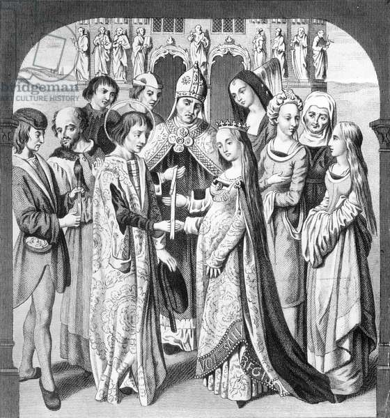 The Marriage of Henry VI and Margaret of Anjou, engraved by Freeman (engraving)