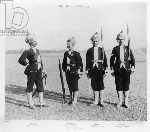8th Madras infantry, c.1897 (b/w photo)