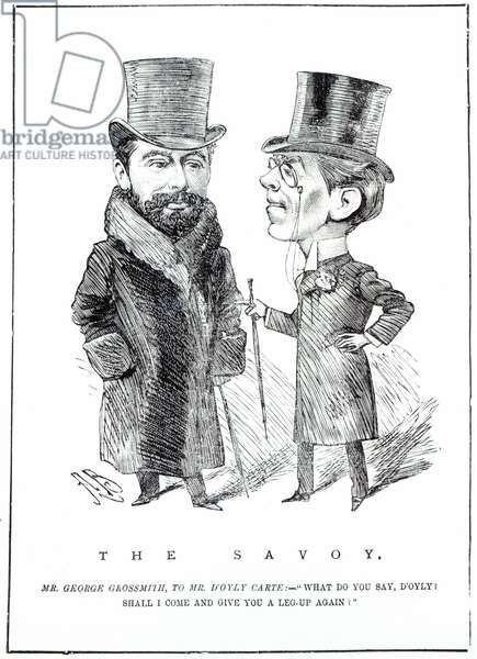 George Grossmith Jnr. and Richard D'Oyly Carte at 'The Savoy', published in 'The Entr'acte', March 31st 1894 (engraving)