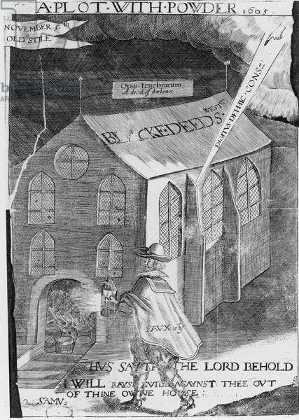 A Plot with Powder, 1605 (engraving) (b&w photo)