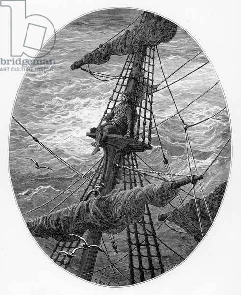 The Mariner up the mast during a storm, scene from 'The Rime of the Ancient Mariner' by S.T. Coleridge, published by Harper & Brothers, New York, 1876 (wood engraving)
