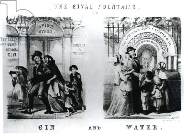The Rival Fountains or Gin and Water (engraving) (b/w photo)