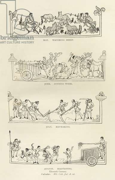 May, June, July and August, from 'The Julius Calendar and Hymnal', illustration from 'History of the English People' (engraving) (b/w photo)