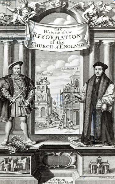 Titlepage of 'The History of the Reformation of the Church of England' (engraving) (b/w photo)
