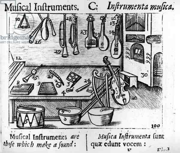 Musical Instruments (engraving) (b/w photo)