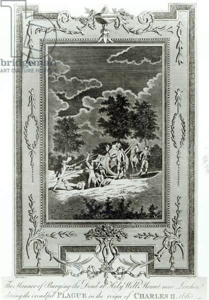 Burying the Dead at Holy Well Mount, 1665 (engraving) (b/w photo)