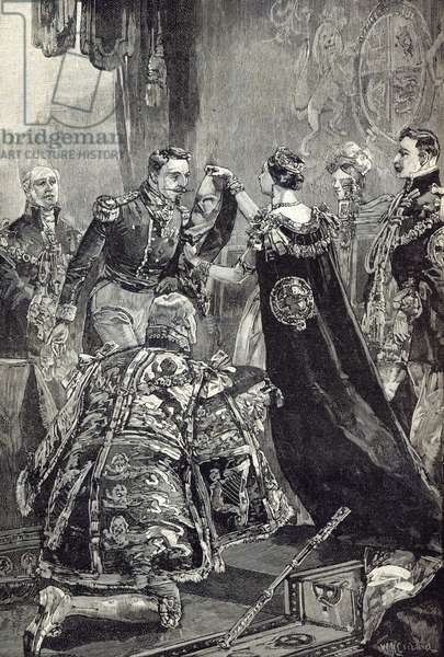 The Queen investing the Emperor of the French with the Order of the Garter (engraving)