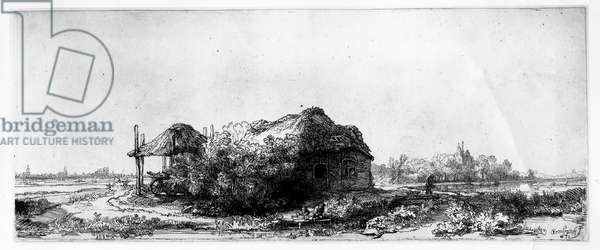 Landscape with a Cottage and Haybarn, etched by James Bretherton (etching)