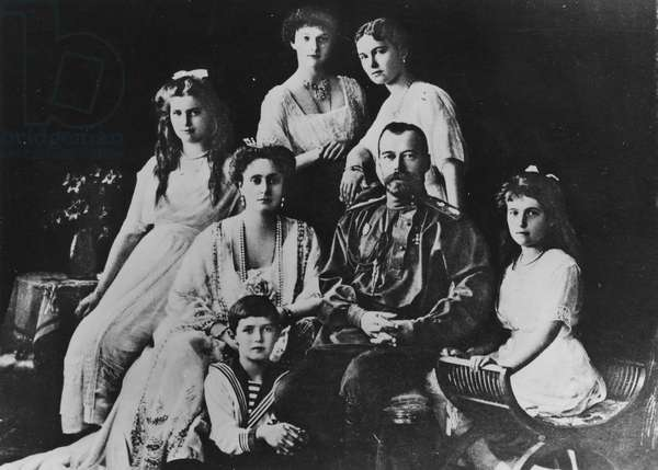 Tsar Nicholas II and his family, c.1914 (b/w photo)