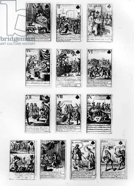 Playing cards commemorating the War of the Spanish Succession, with scenes satirizing the French royal family and court, c.1707 (engraving) (b&w photo)