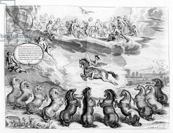The Marquess of Newcastle riding on Pegasus before an assembly of the Greek Gods and receiving the salutes of earthly horses, illustration from a Riding Manual by the Marquess of Newcastle, published in Antwerp in 1658 (engraving)