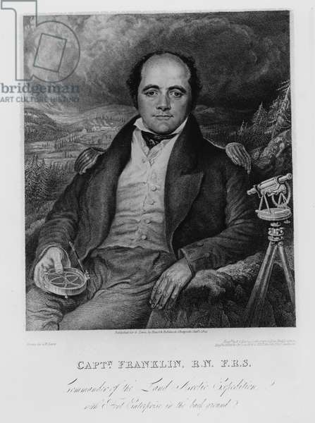 Portrait of Captain John Franklin (1786-1847) engraved by Frederick Christian Lewis (1779-56) 1824 (engraving) (b/w photo)