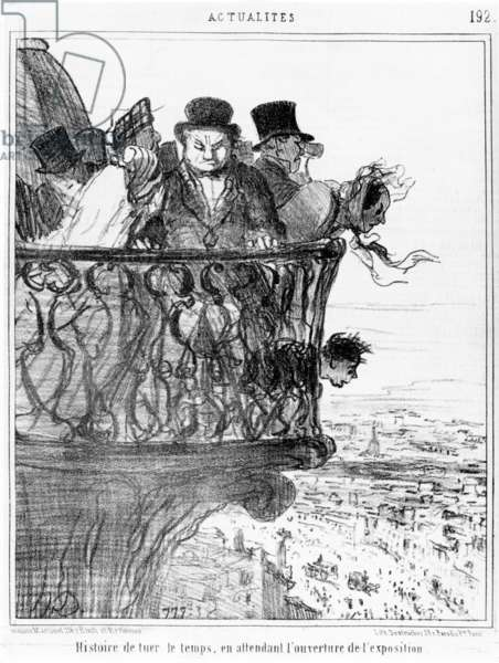 History of killing time, waiting for the opening of the Universal Exhibition in Paris, cartoon from 'Le Charivari', 15 May, 1855 (litho)