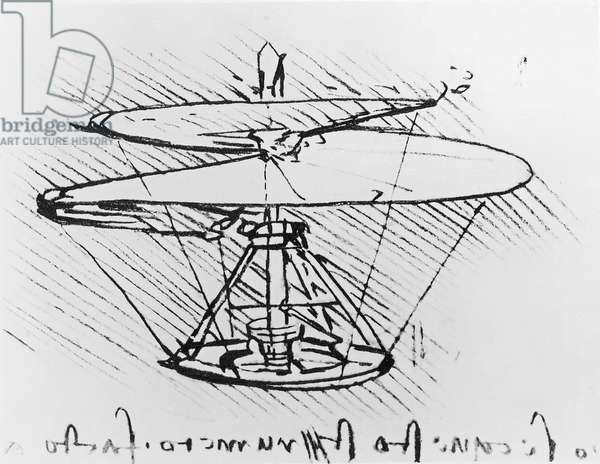 Detail of a design for a flying machine, c.1488 (pen & ink on paper)