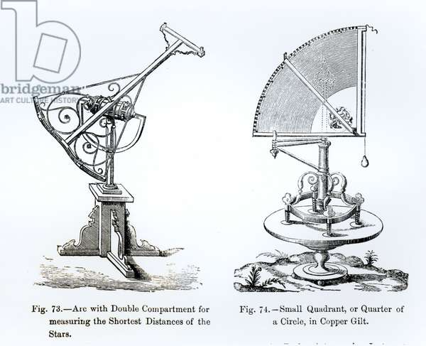 Astronomical Instruments (engraving) (b/w photo)