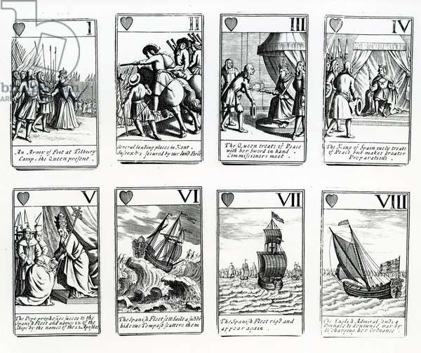 Playing Cards depicting the events from the Spanish Armada, 1699 (engraving)