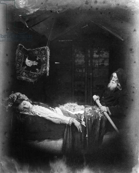 The Death of Elaine, illustration from 'The Idylls of the King' by Alfred, Lord Tennyson, 1875 (albumen print)
