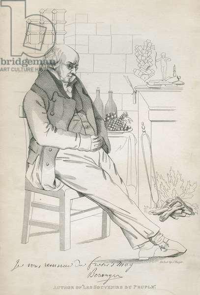 Pierre-Jean de Beranger (1780-1857) (etching) (b/w photo)
