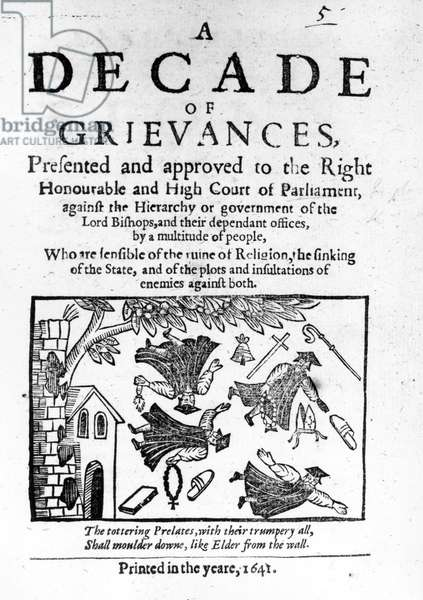 'A Decade of Grievances', Alexander Leighton's pamphlet assaulting the institution of episcopacy, 1641 (woodcut) (b/w photo)