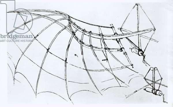 Diagram of a mechanical wing, manuscript B, 1488-89 (pen & ink on paper) (b/w photo)