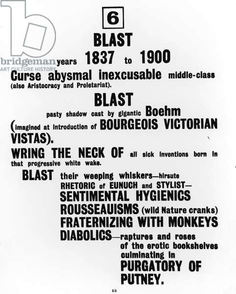 A page from 'Blast' magazine, 1915 (litho)