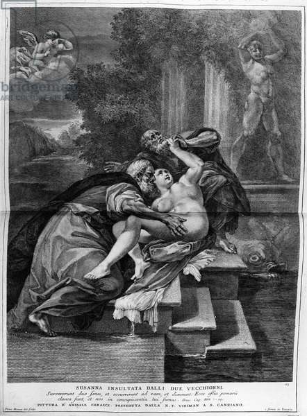 Susanna and the elders, engraved by Pietro Monaco, c.1740 (engraving)