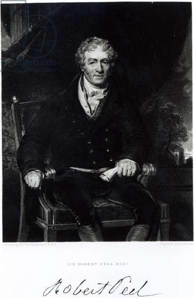 Portrait of Sir Robert Peel (1788-1850), engraved by H, Robinson (engraving) (b/w photo)